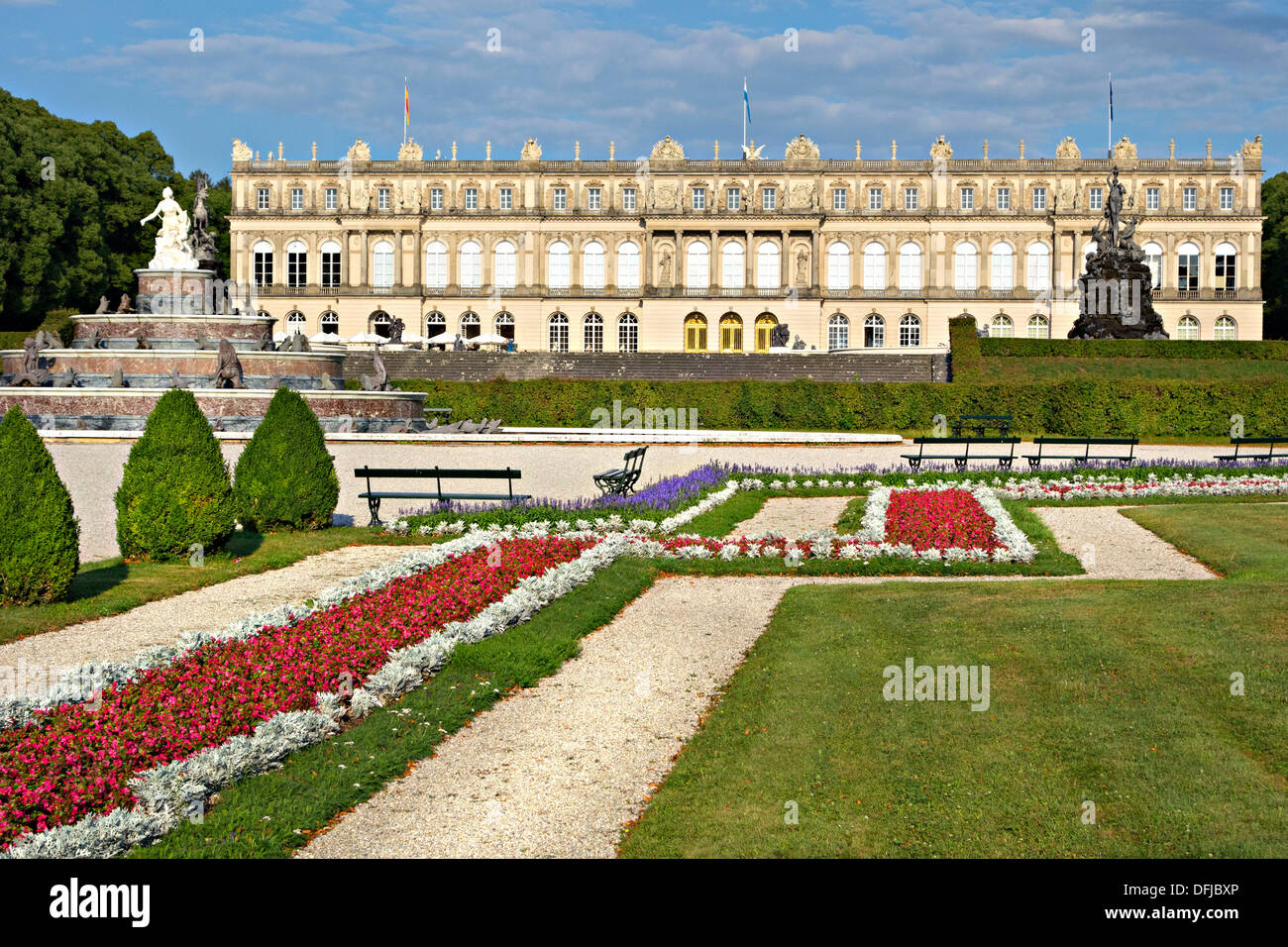 Herrenchiemsee Schloss Palace gardens, Herreninsel, Chiemsee Chiemgau, Upper Bavaria Germany - Stock Image