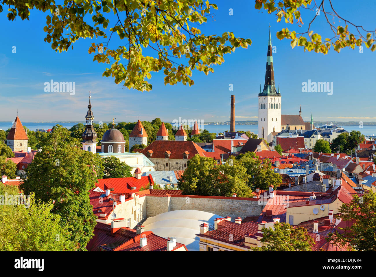 Skyline of Tallinn, Estonia at the old city. - Stock Image