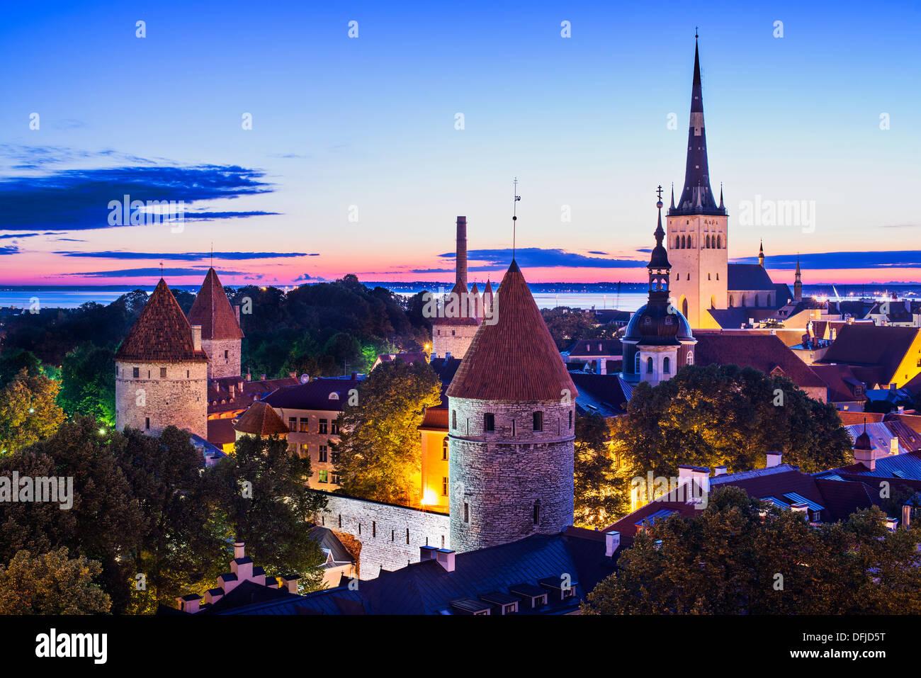 Skyline of Tallinn, Estonia at dawn. - Stock Image