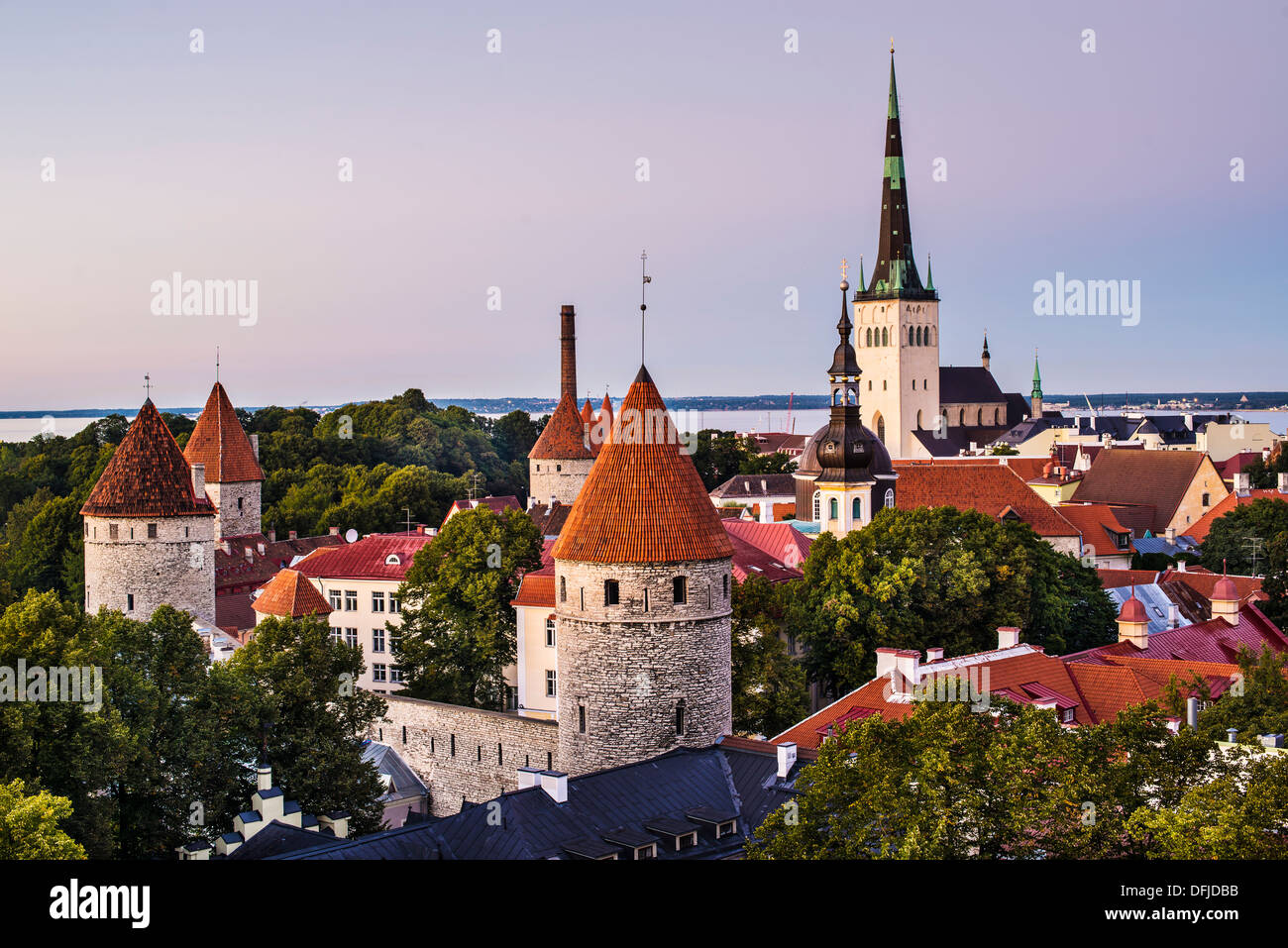 Skyline of Tallinn, Estonia at dusk. - Stock Image
