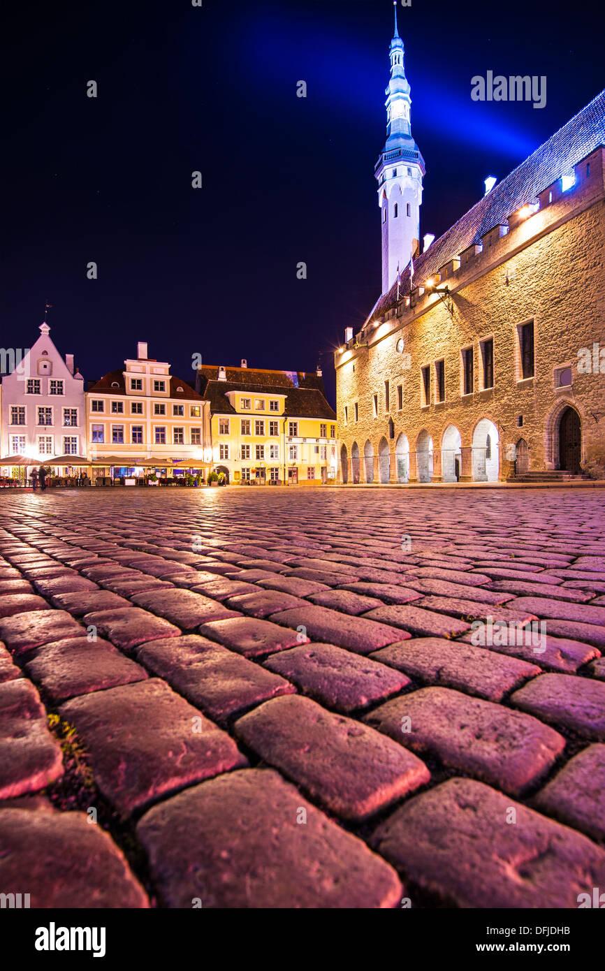 The old town square in Tallinn, Estonia. - Stock Image