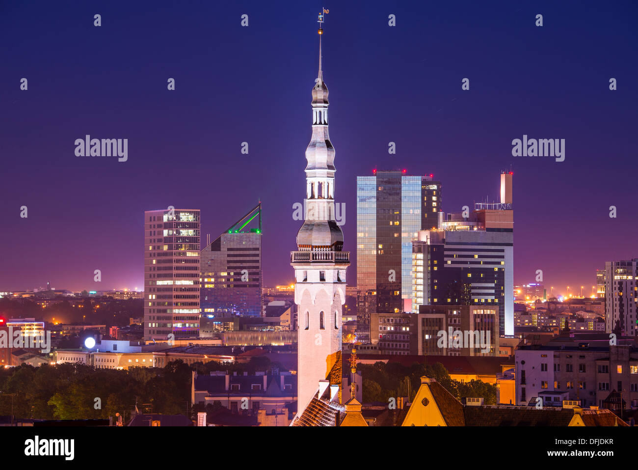 Skyline of Tallinn, Estonia with the old city and the new city. - Stock Image