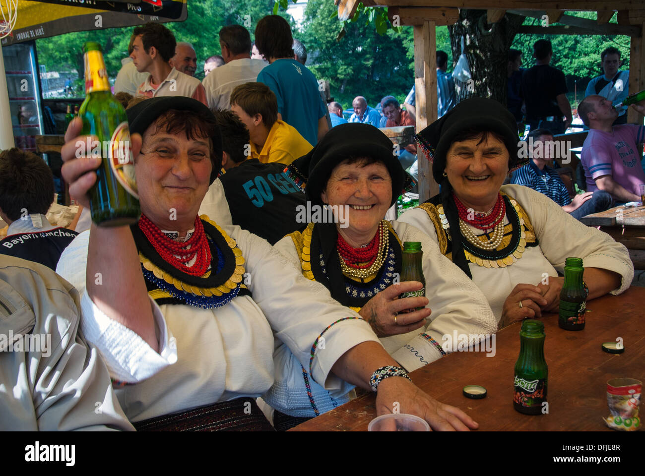 Three unidentified women with traditional clothes in Kraljeva Sutjeska, Bosnia and Herzegovina. - Stock Image