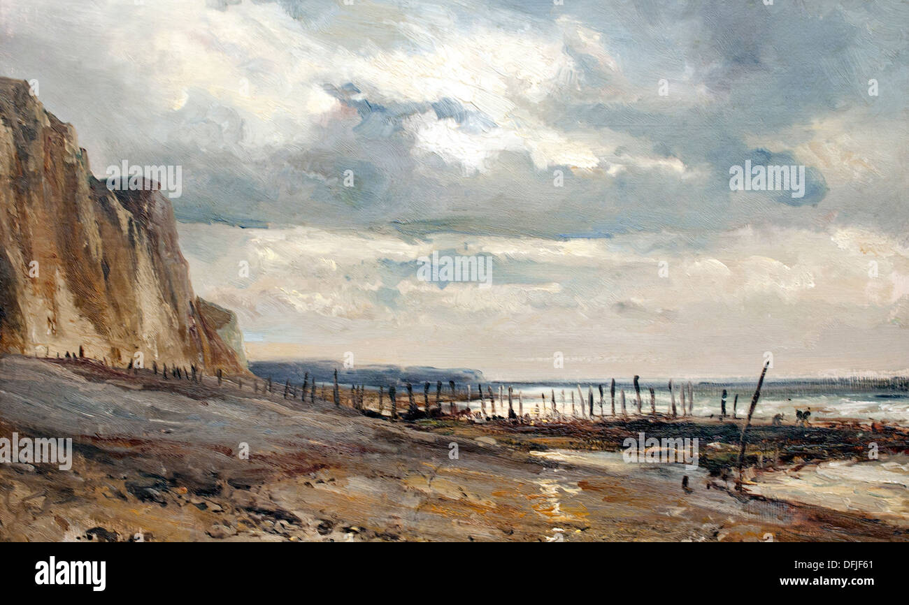 Cliffs on the the Normandy Coast by Eugene Isabey Museum Painting - Stock Image