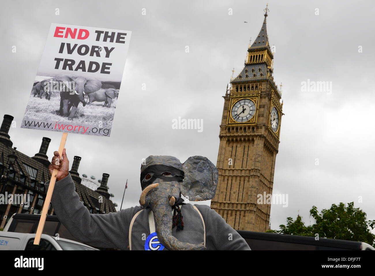 London UK, 4th Oct 2013 : Hundreds of protesters march to Parliament Square, calling on the government to support a worldwide ban on ivory. The demonstrators raised the issue of one elephant being killed every 15 minutes to supply the illegal ivory trade. See Li / Alamy Live News - Stock Image