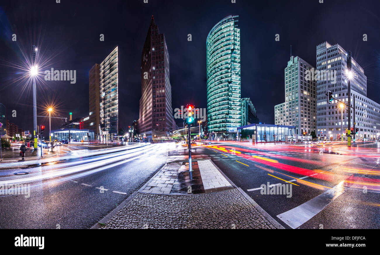 The financial district of Berlin, Germany known as Potsdamer Platz. - Stock Image