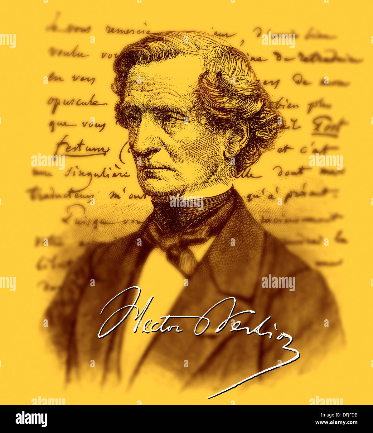 hand-written text and portrait of Louis Hector Berlioz - Stock Image