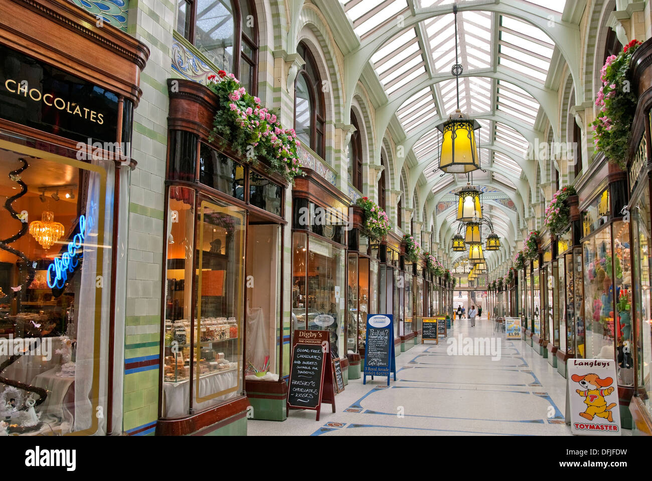 Norwich Royal Arcade that runs from the market place towards Norwich Castle and was designed by architect George Skipper in 1899 - Stock Image