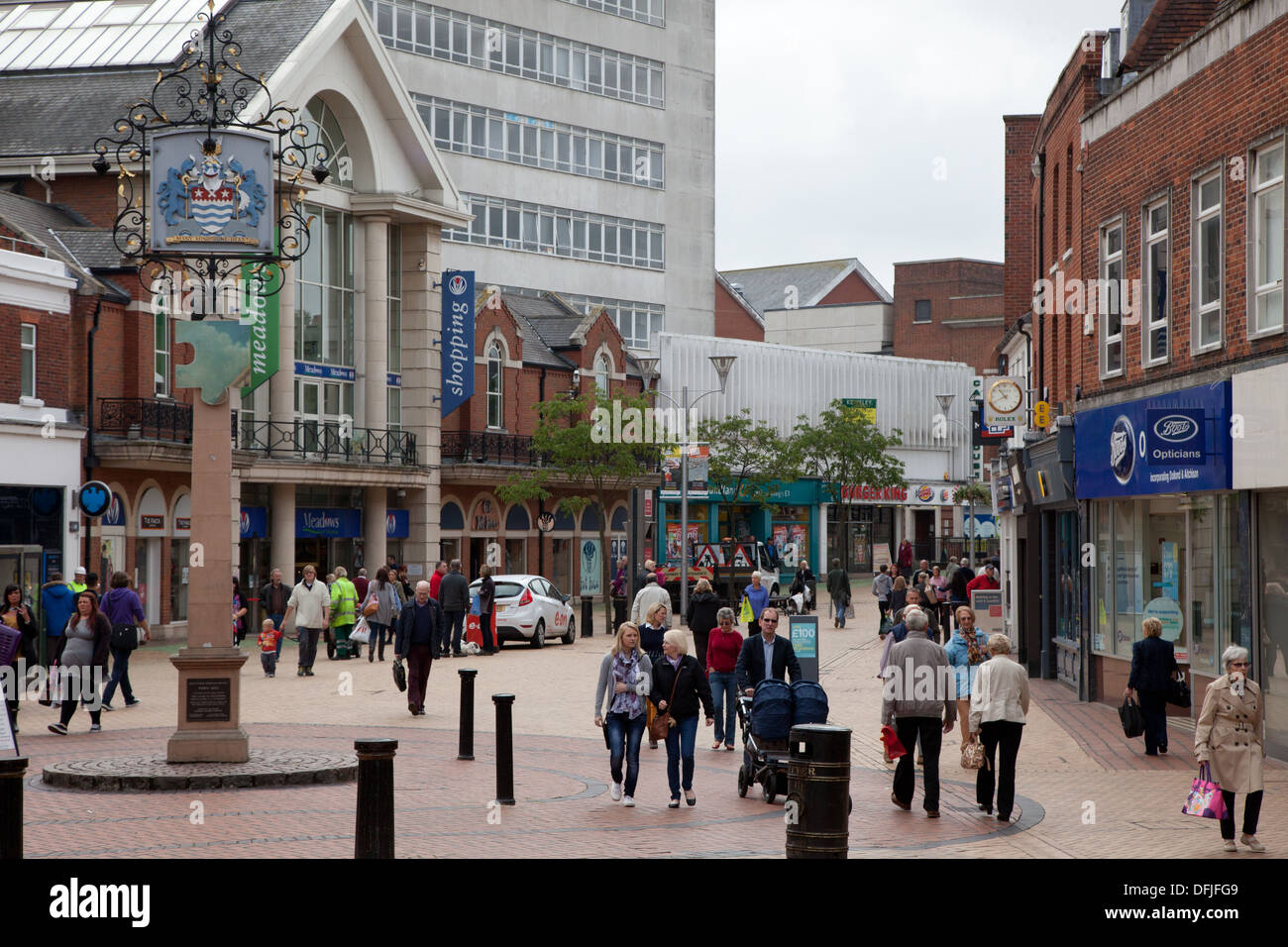 Chelmsford Essex centre, the pedestrianized high street with good access for wheelchairs - Stock Image