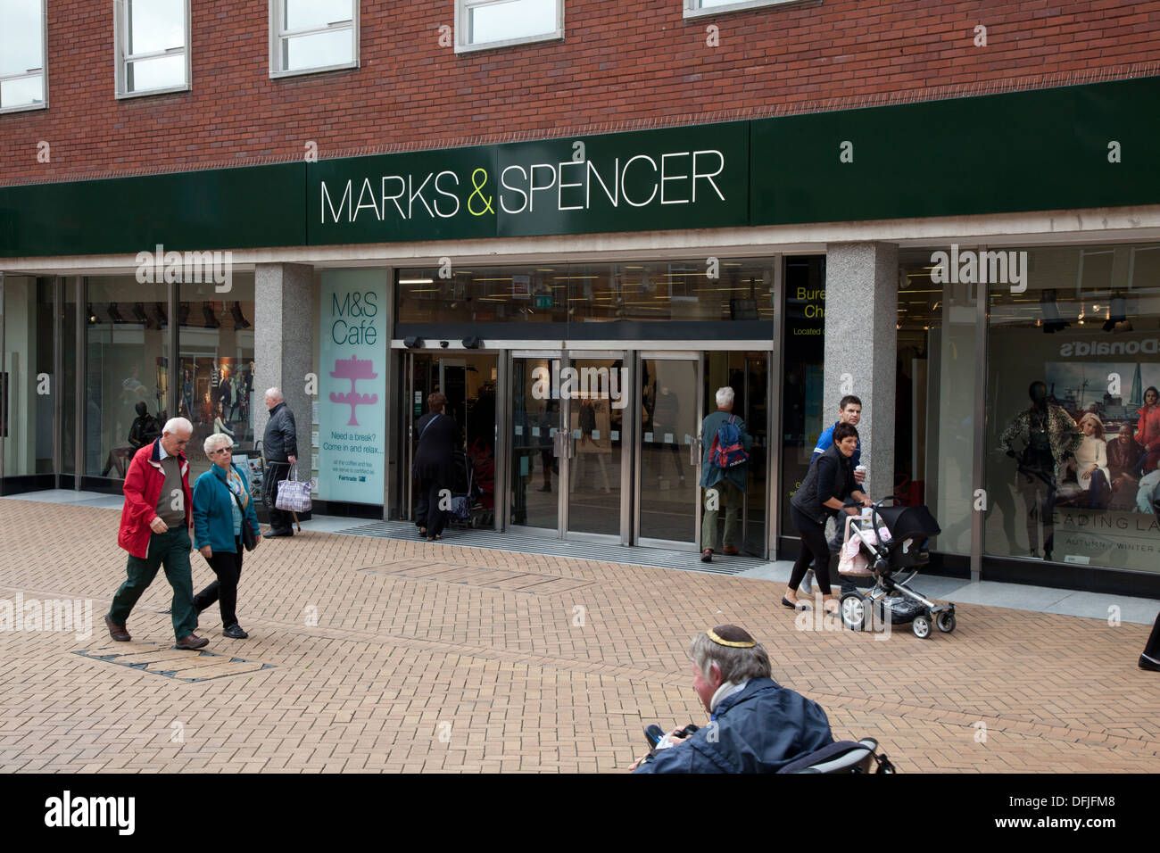 Marks and Spencer Chelmsford High Street. A high street with good accessibility for wheelchairs and strollers Stock Photo