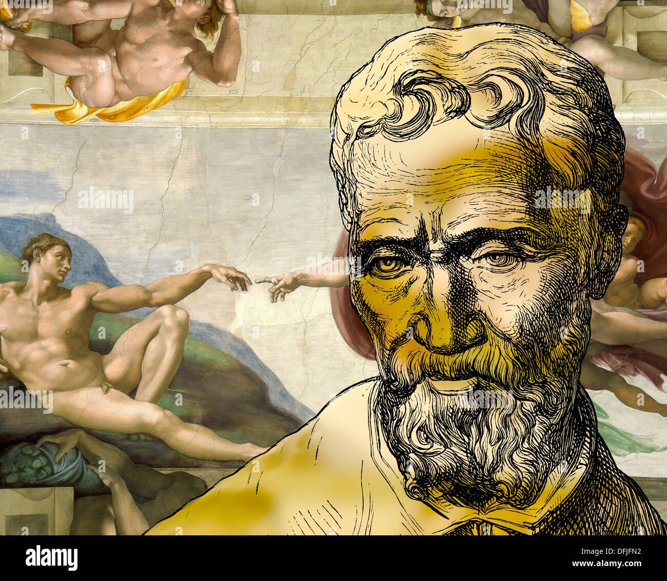 Creation of Adam, Michelangelo Buonarroti, 1475 - 1564, Italian painter, sculptor, architect and poet of the Renaissance Stock Photo
