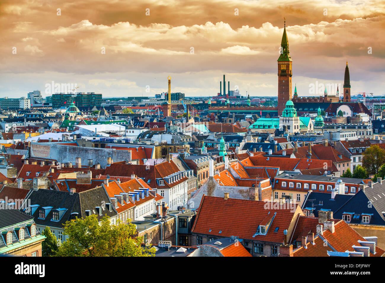 Copenhagen, Denmark aerial view of the skyline. - Stock Image