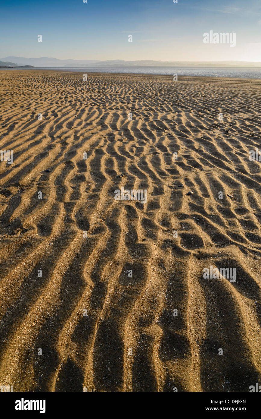 Ripples in the sand, Mossyard beach, Solway coast, Dumfries & Galloway, Scotland - Stock Image
