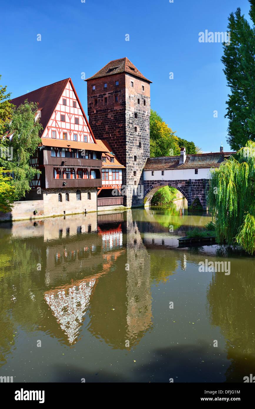 Executioner's bridge in Nuremberg, Germany - Stock Image