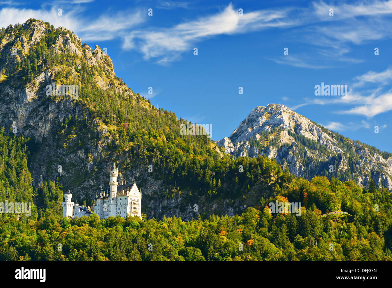 Neuschwanstein Castle in the Bavarian Alps of Germany. Stock Photo