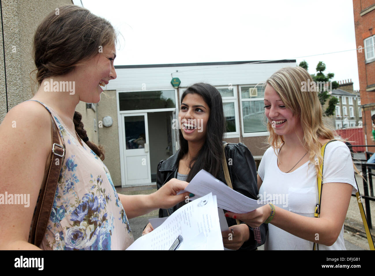 Girls with results from their AS-level exams, a qualification ranked between GCSE and A-level often taken at the age of 17. - Stock Image