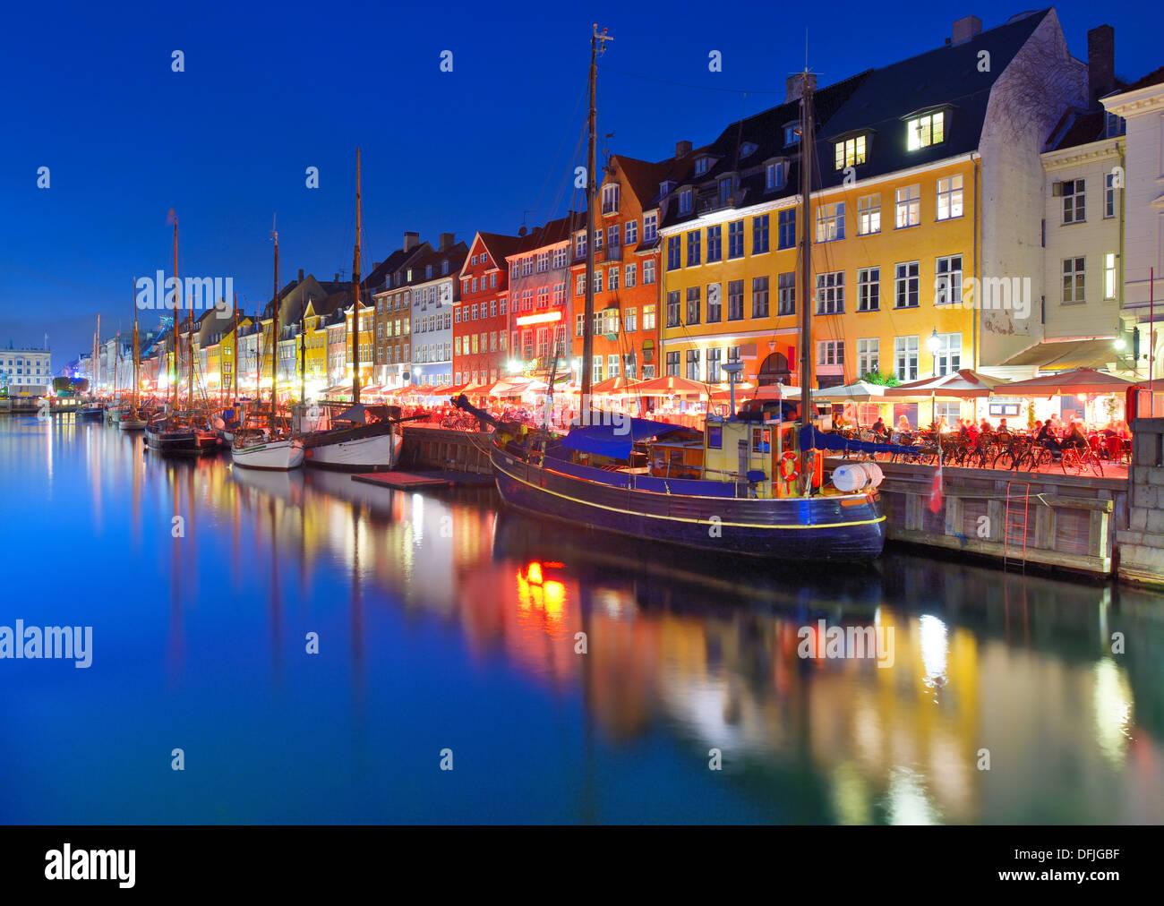 Nyhavn Canal in Copenhagen, Demark. - Stock Image