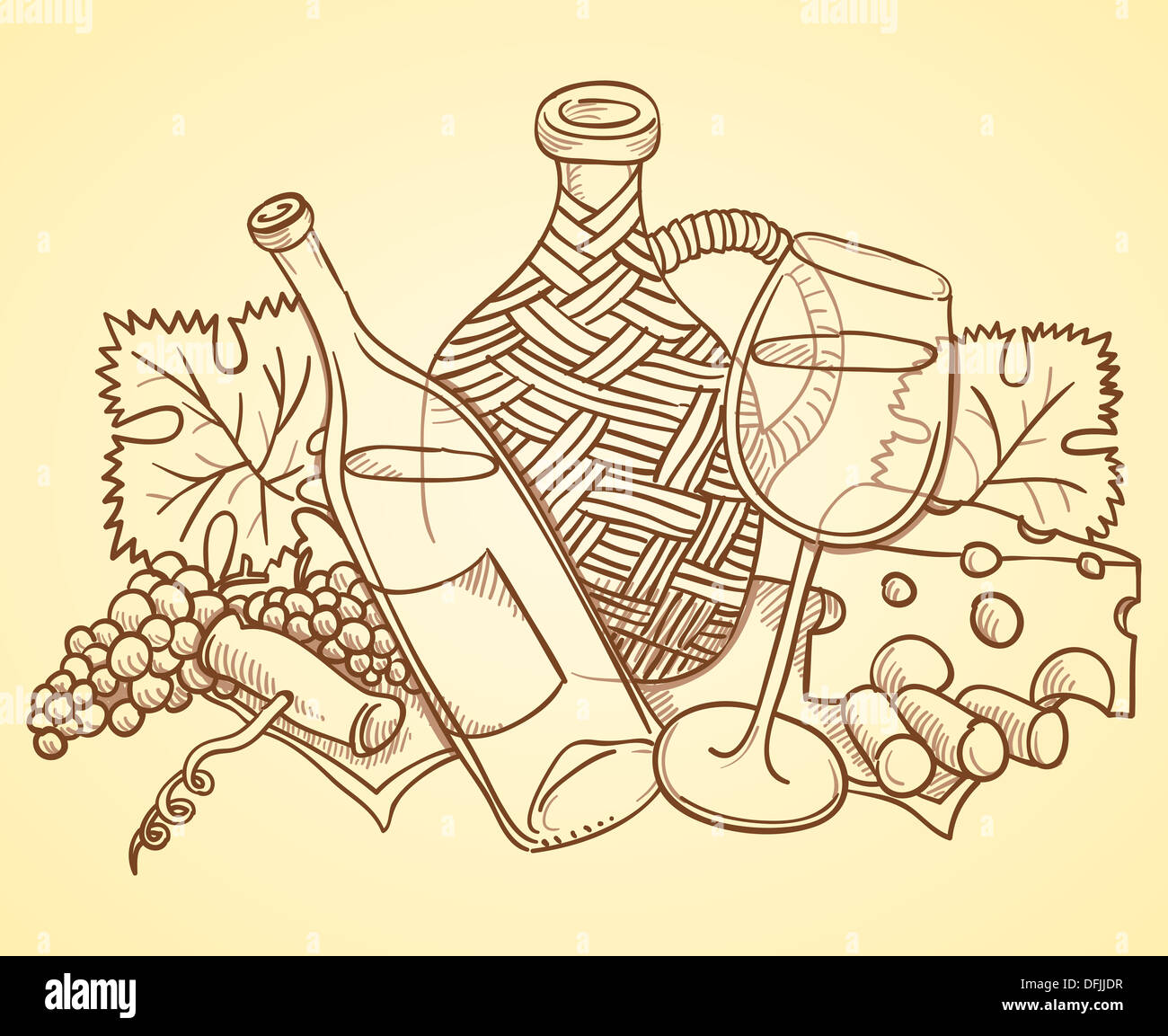 Wine Themed Drawing - Stock Image