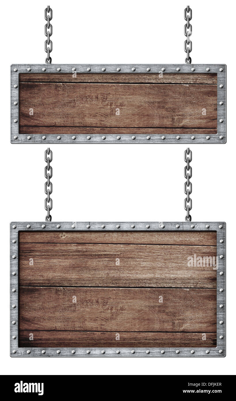 medieval signboards set with chains isolated on white - Stock Image