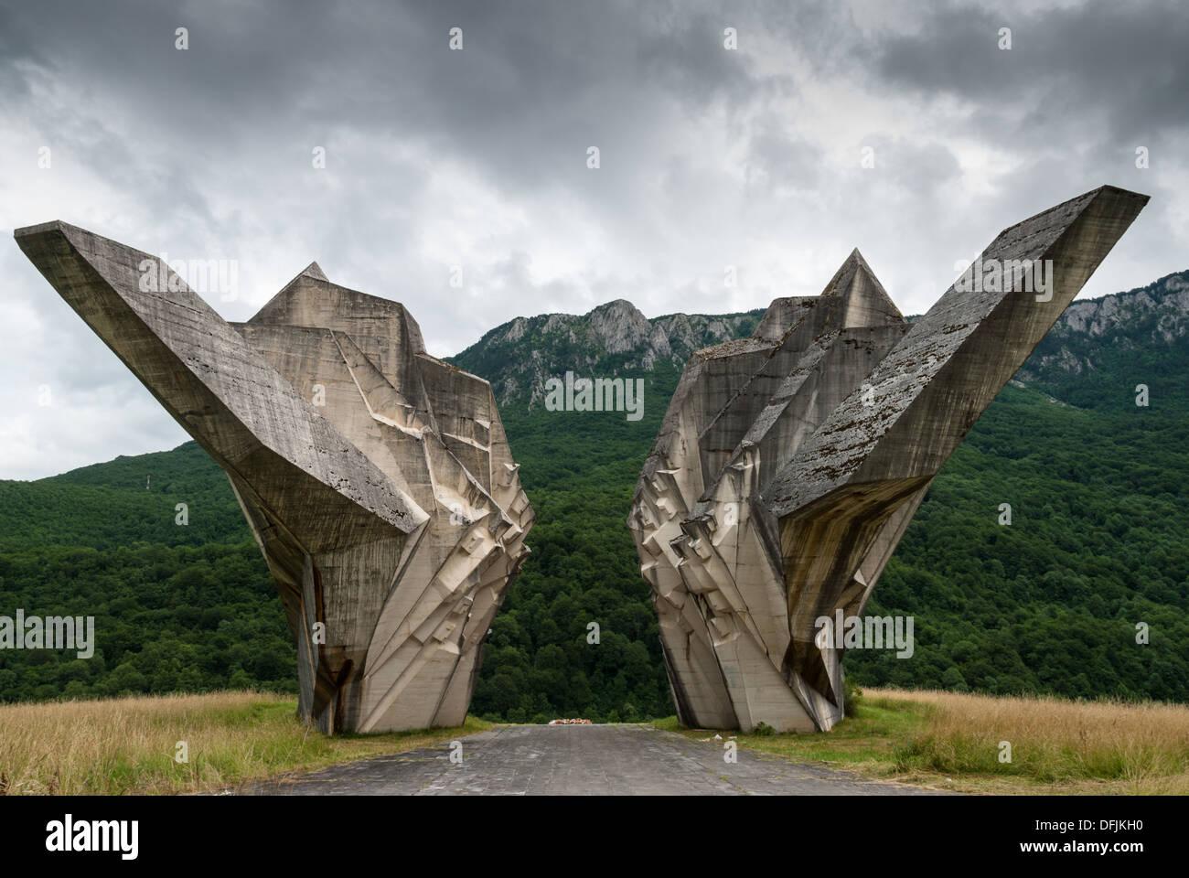 The World War II monument in Sutjeska National Park, Bosnia and Herzegovina - Stock Image
