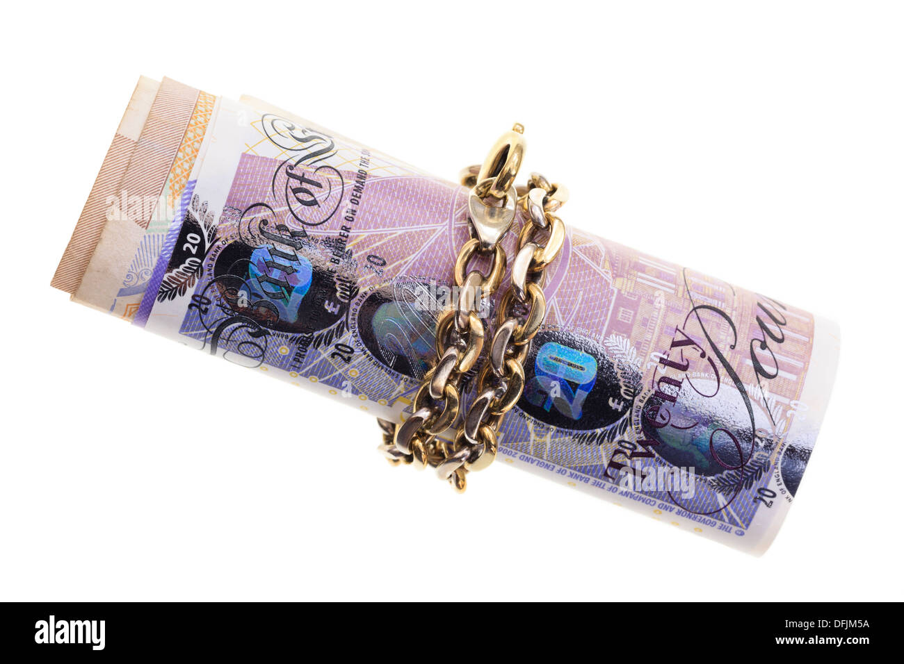 UK Sterling pound notes tied up in gold chain isolated on a white background, saving money and investments concept. - Stock Image