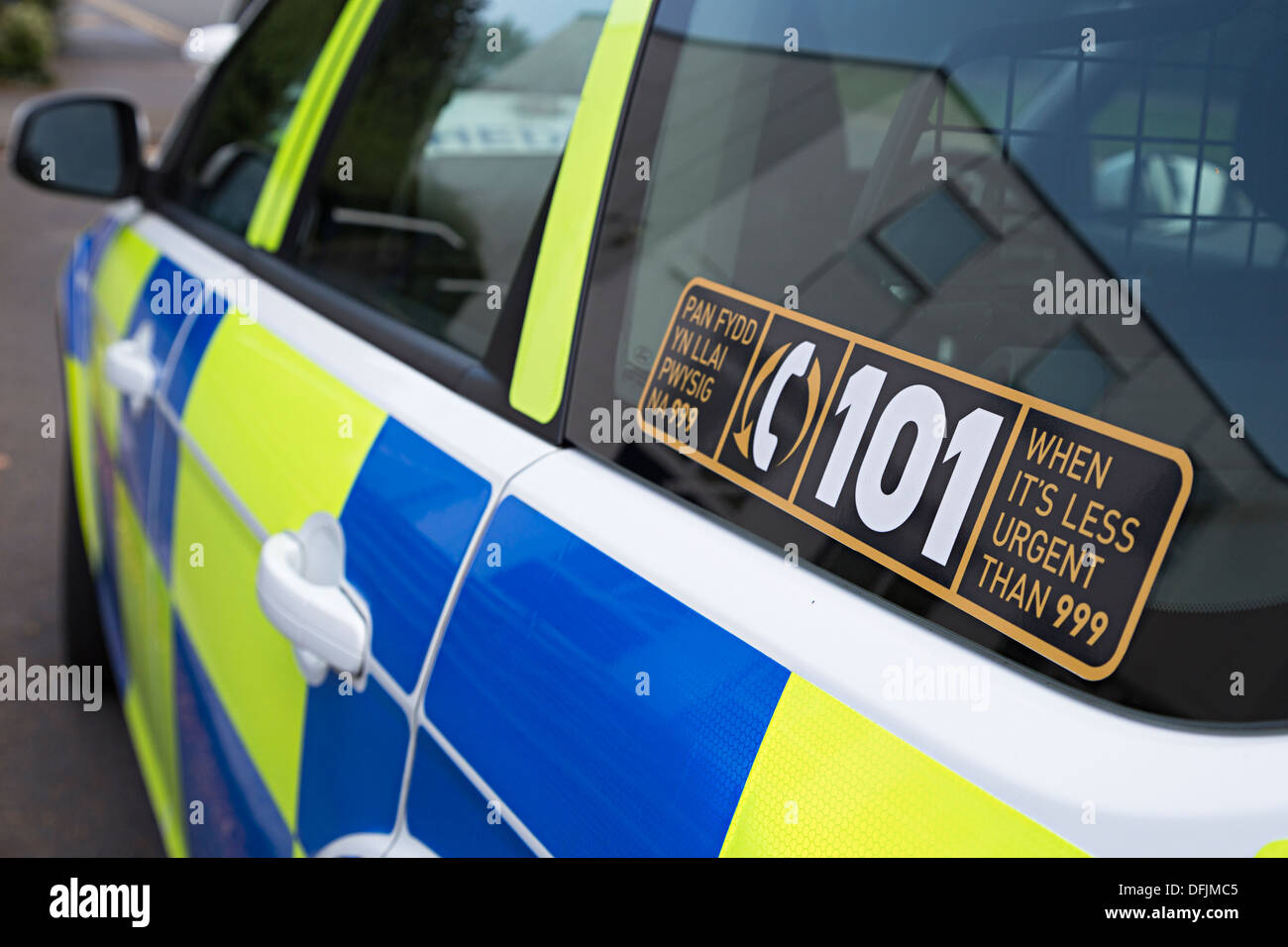 Police sticker on car for telephone 101 less urgent calls