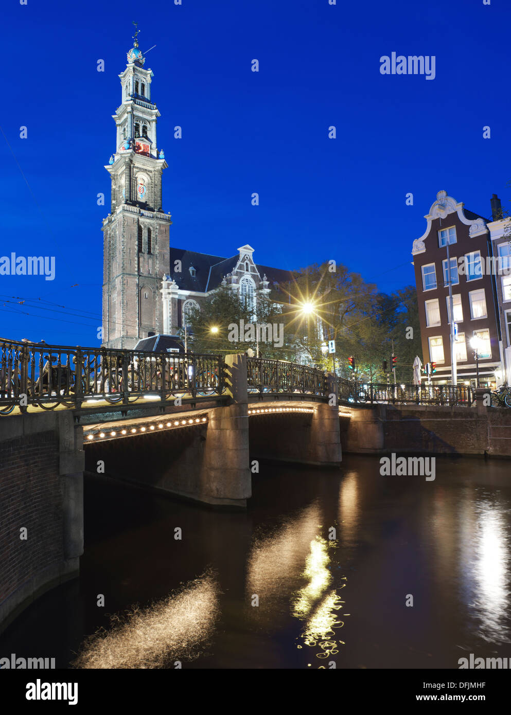 Westerkerk at night - Stock Image