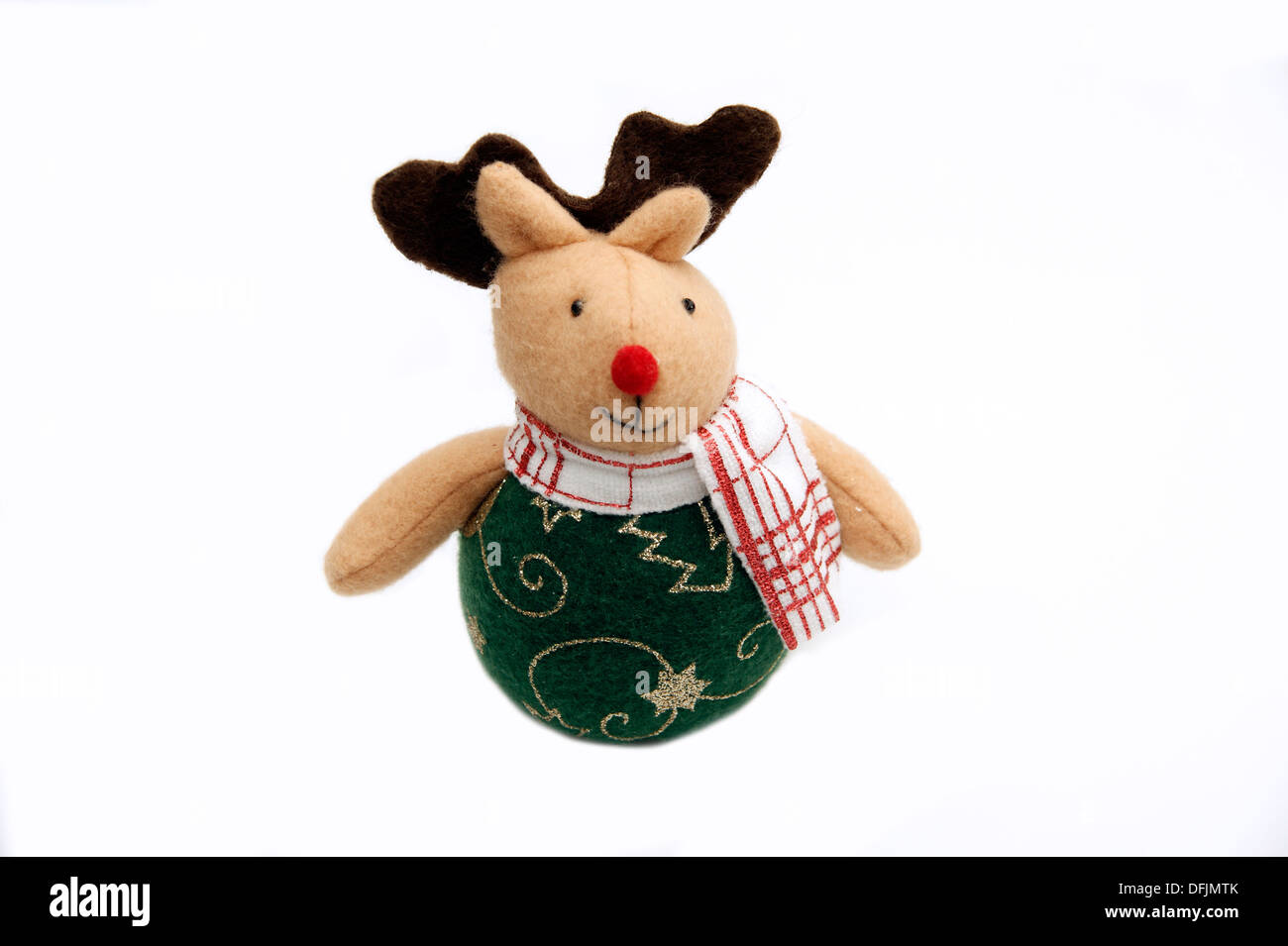 fun soft toy rudolph the red nosed reindeer christmas decoration on a white background