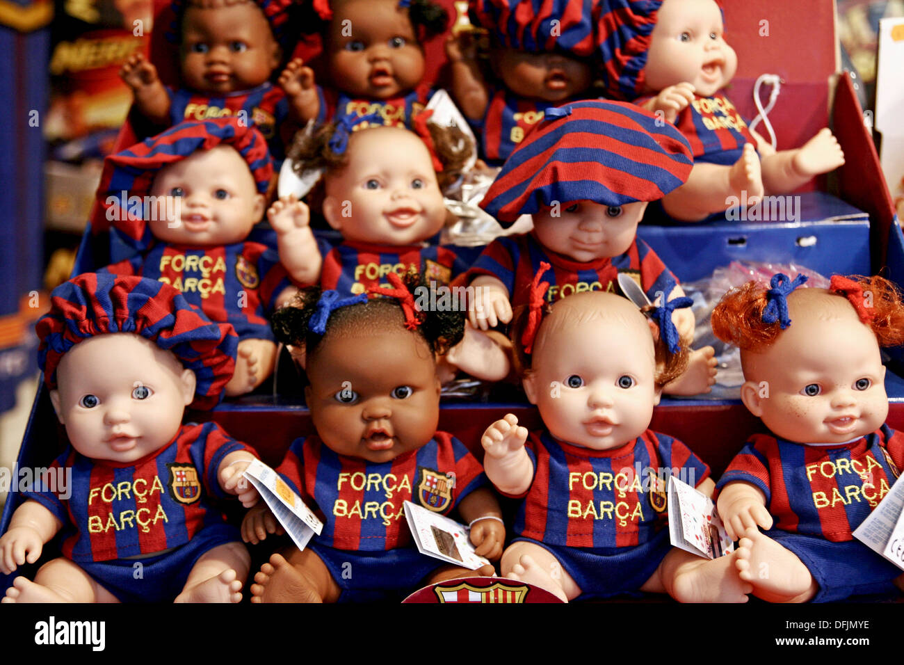 FC Barcelona´s dolls, official product. - Stock Image