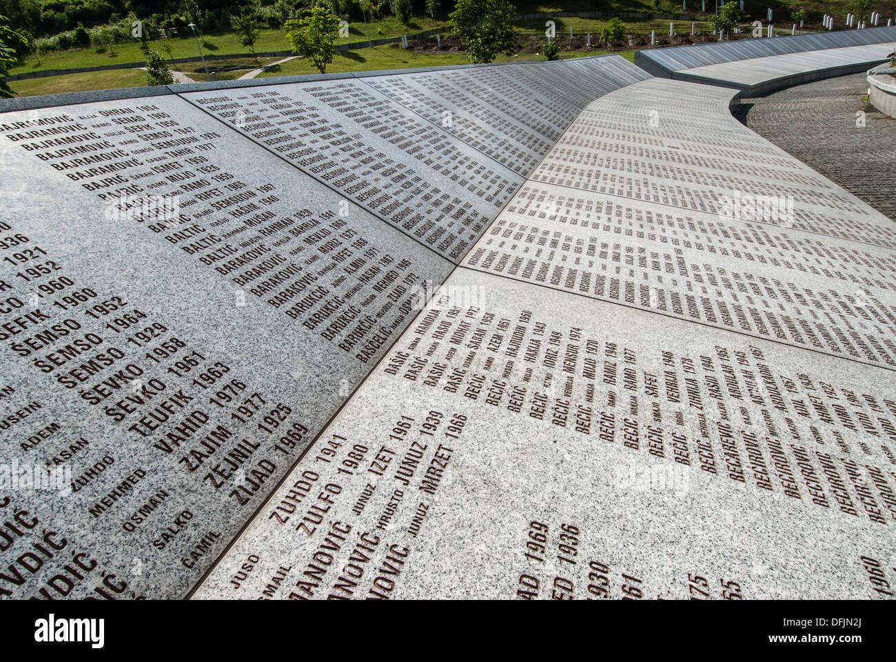 Part of the Srebrenica Genocide Memorial on June 25, 2009 in Potocari, Bosnia and Herzegovina. Stock Photo