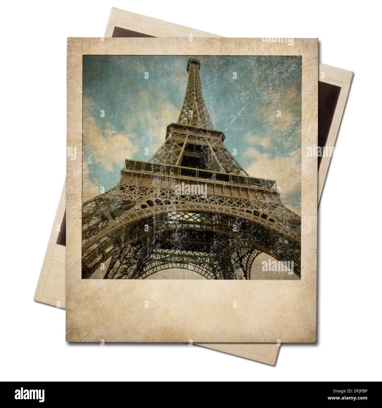 Vintage polaroid Eiffel tower instant photo - Stock Image