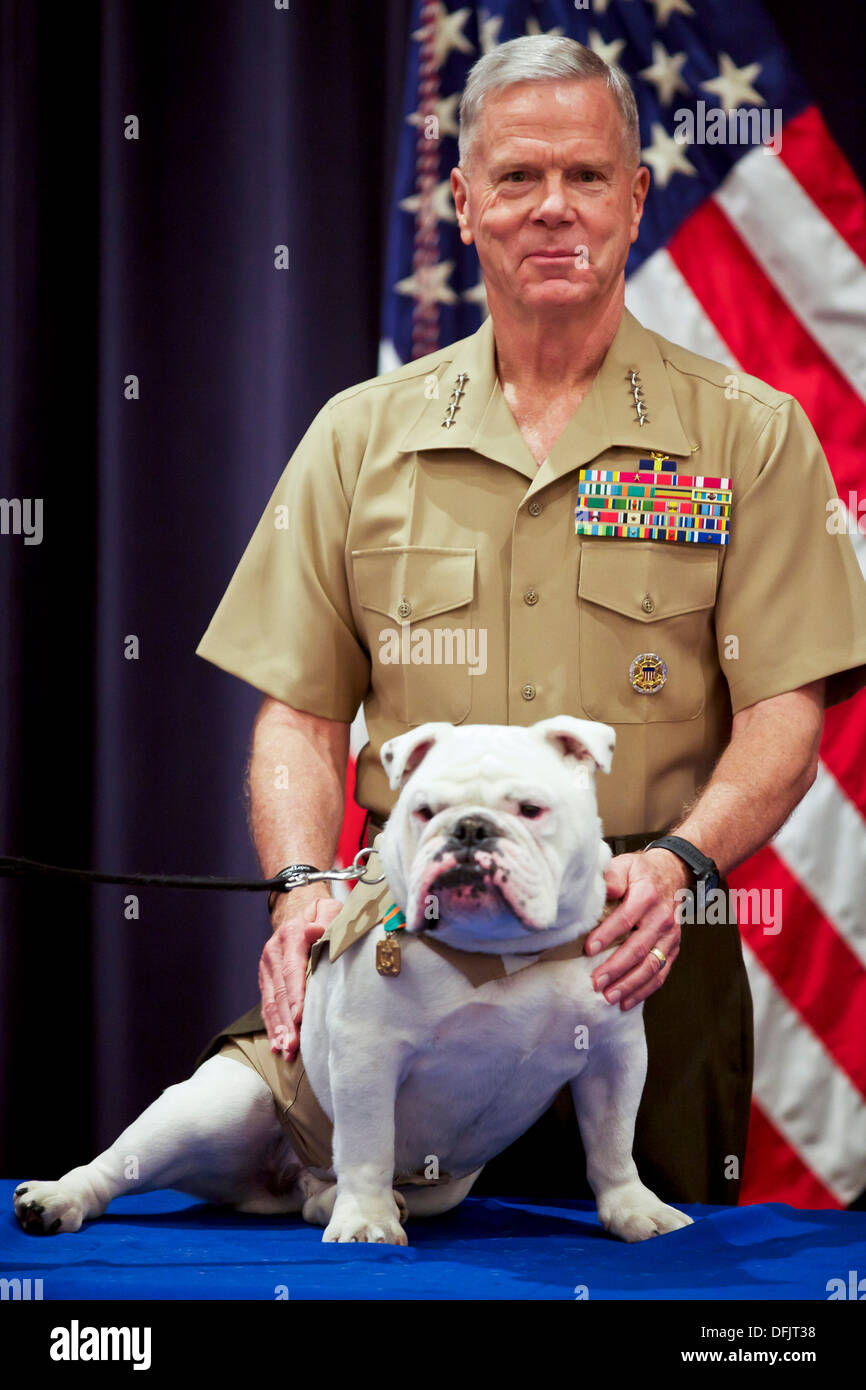 Commandant of the Marine Corps Gen. James F. Amos, poses for a photo with outgoing Marine Corps mascot, Sgt. Chesty Stock Photo