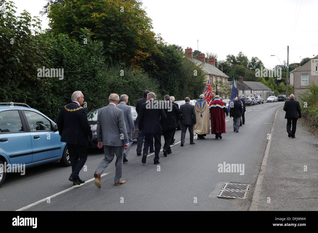 Part of Portrevves Sunday procession held on the Sunday after Big Court Laugharne Corporation Carmarthenshire Wales Cymru KGB - Stock Image