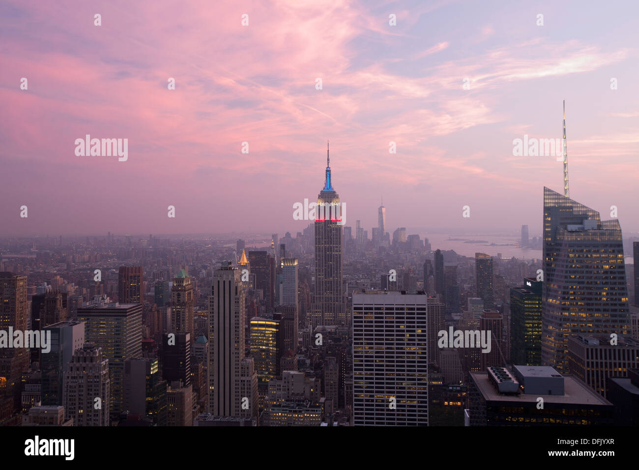 Aerial View of Empire State Building at Night (New York City) - Stock Image
