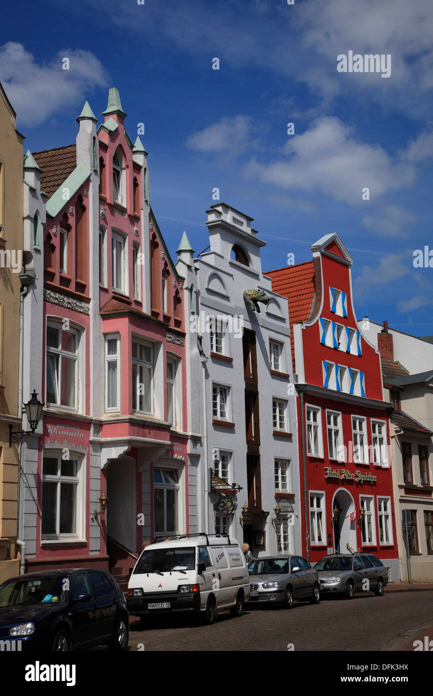 Wismar, Gable houses at Bohrstrasse, Baltic Sea, Mecklenburg West Pomerania, Germany Stock Photo