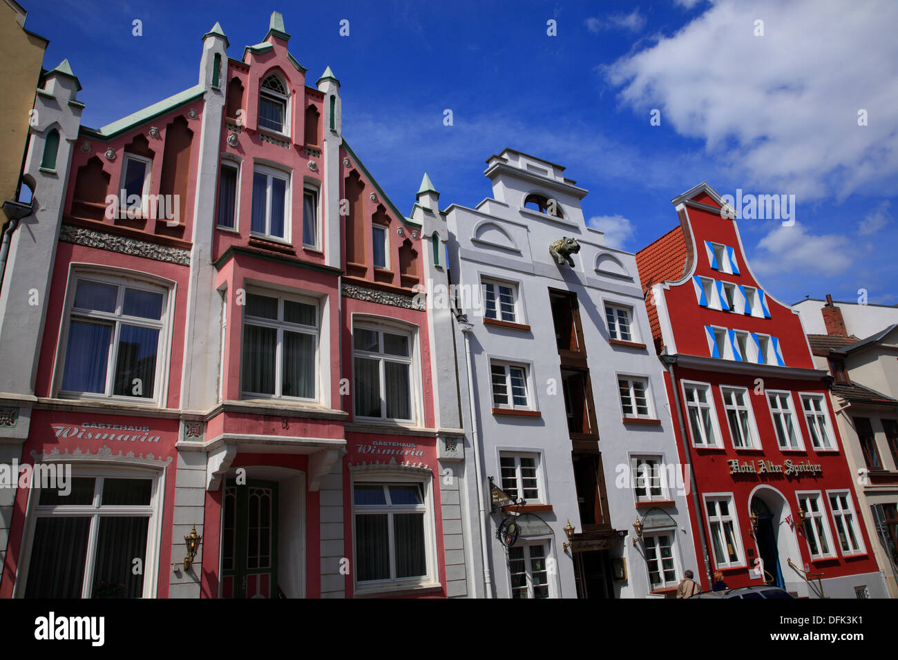 Wismar, Gable houses at Bohrstrasse, Baltic Sea, Mecklenburg West Pomerania, Germany - Stock Image