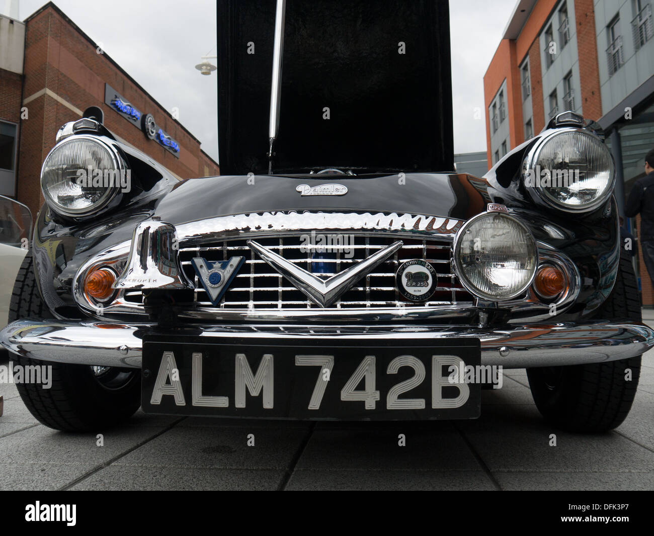 The front of A 1964 Daimler SP250 Dart, This was the last Dart ever issued to the Metropolitan Police - Stock Image