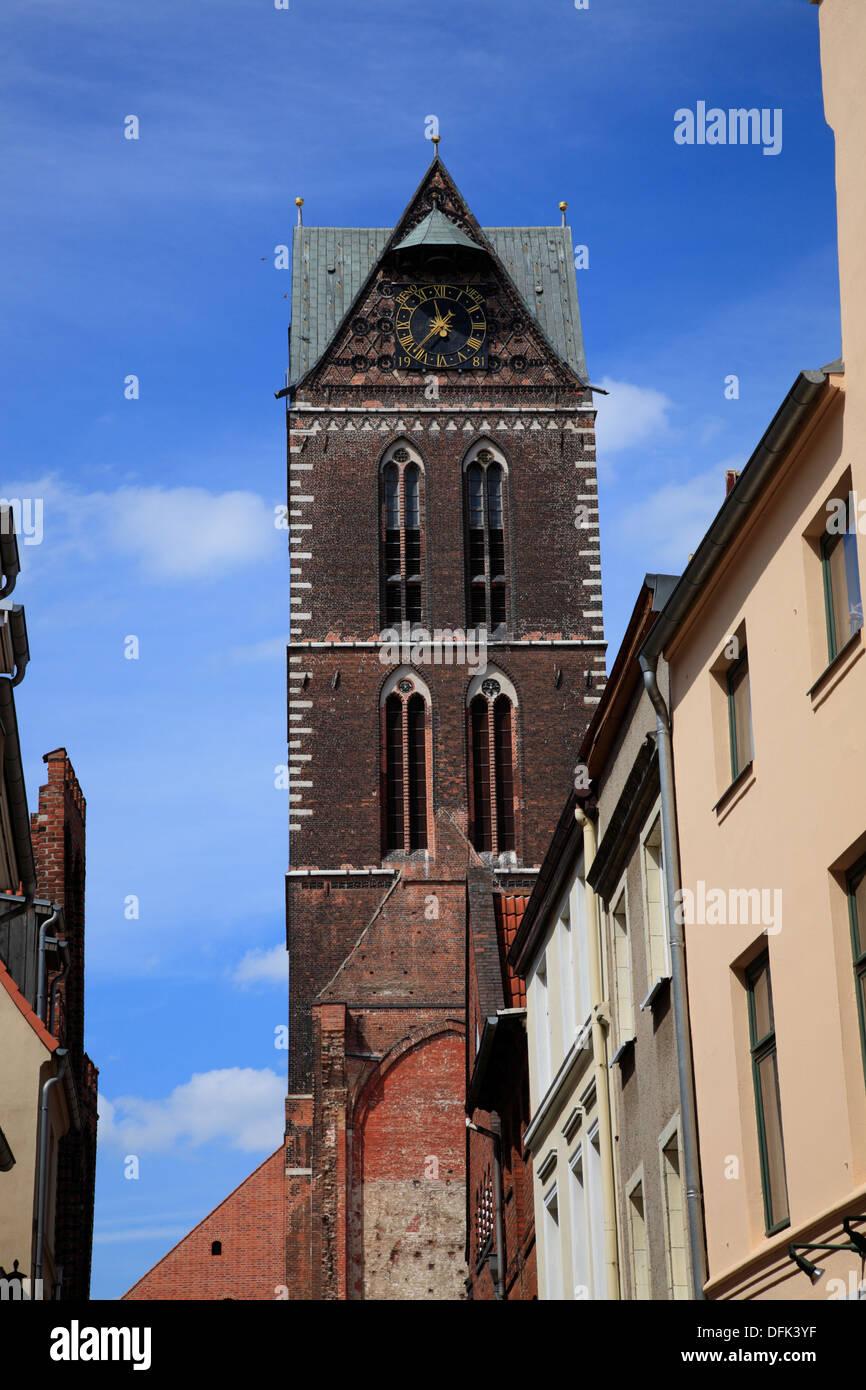 Wismar, Marienkirche, St. Marys Church, Baltic Sea, Mecklenburg West Pomerania, Germany - Stock Image