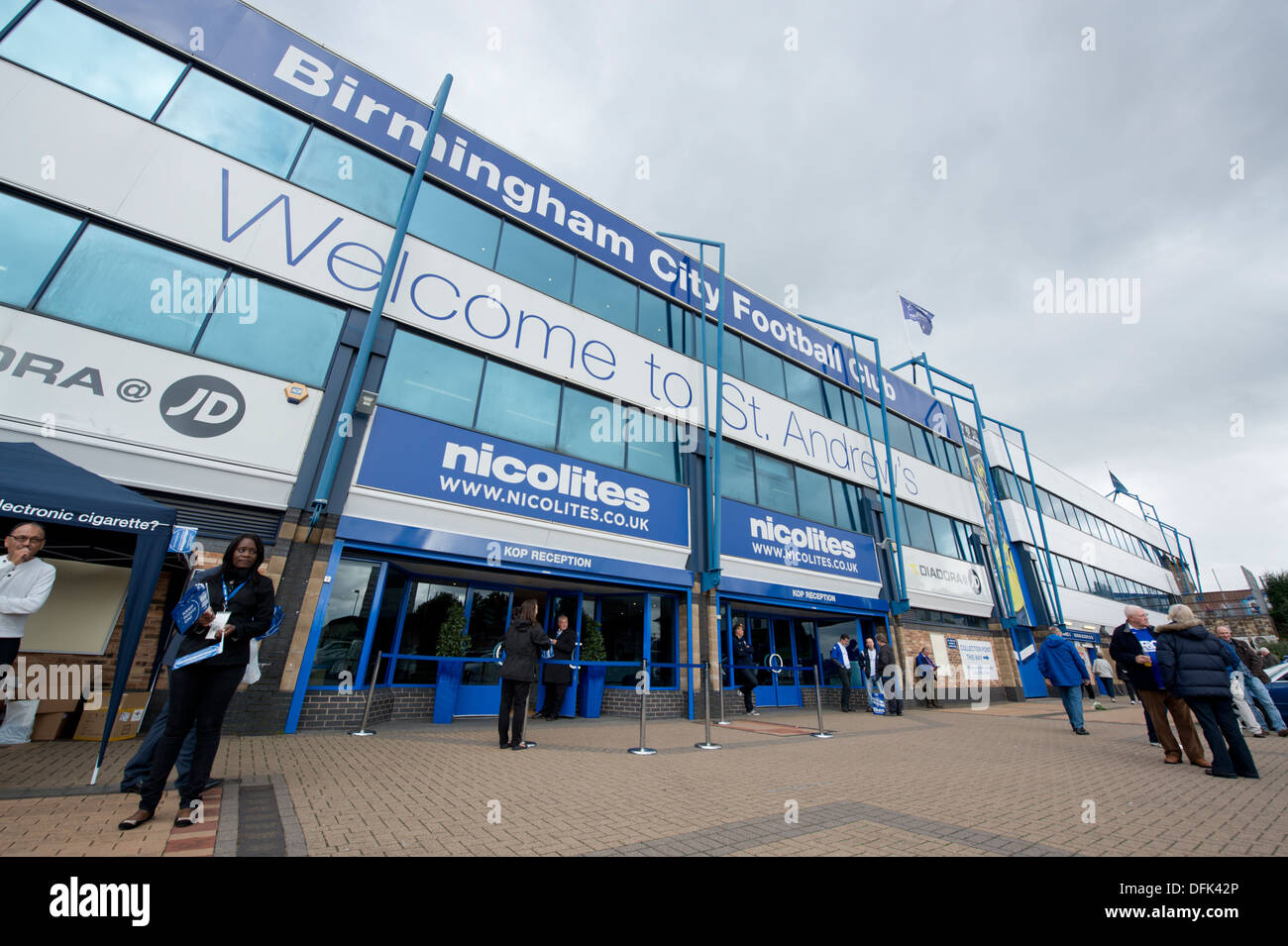 Fans outside St Andrew's stadium, home of Birmingham City Football Club. - Stock Image