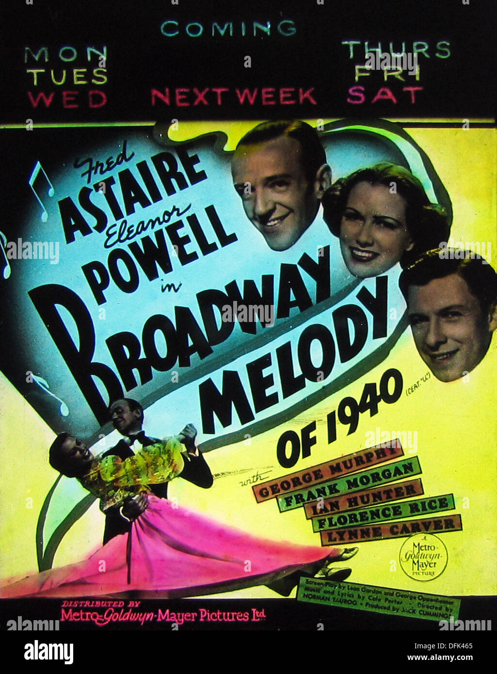 Fred Astaire Eleanor Powell Broadway Melody cinema projection slide 1940 - Stock Image