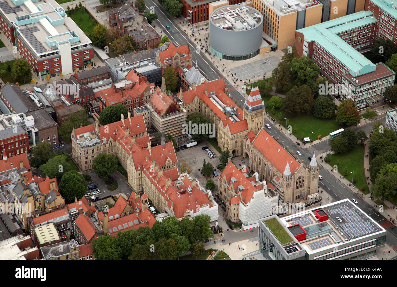aerial view of Manchester University - Stock Image