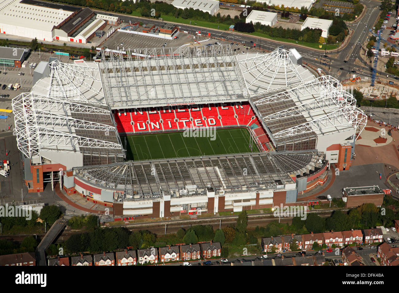 aerial view of Manchester United Old Trafford Stadium, Manchester taken October - Stock Image