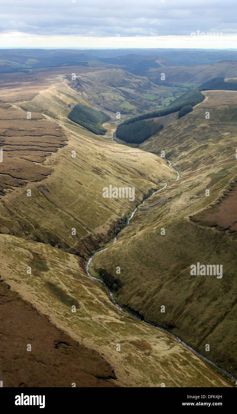 aerial view of the Pennine Hills near Manchester - Stock Image