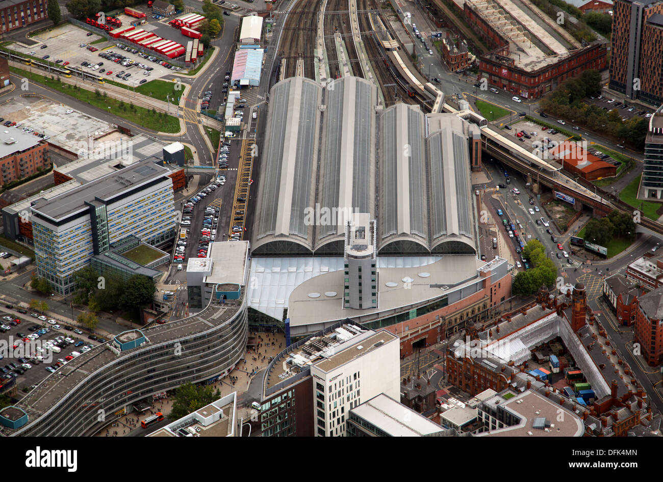 aerial view of Manchester Piccadilly railway station, Manchester - Stock Image