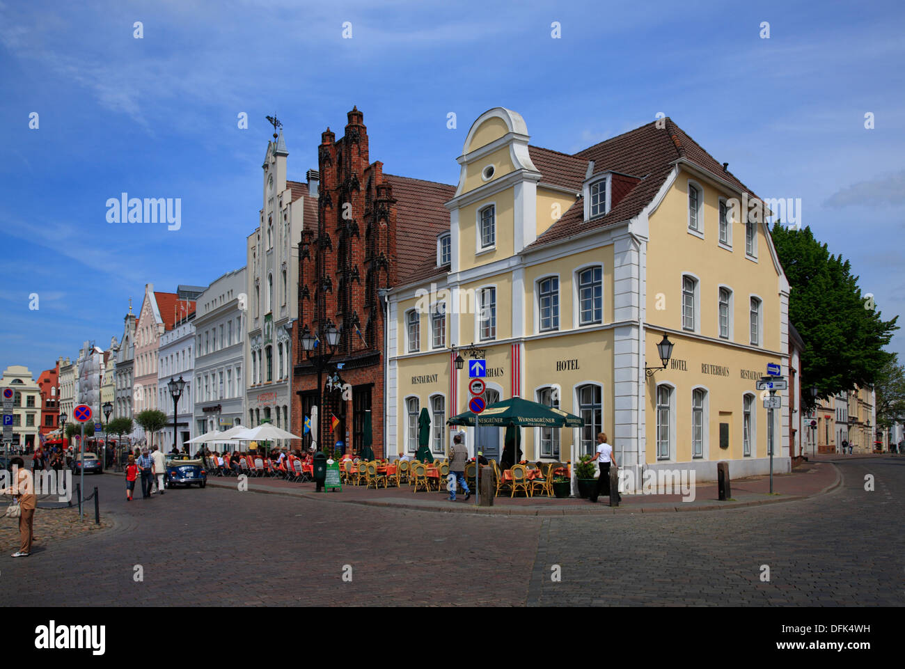 Old Houses at market square, Wismar, Baltic Sea, Mecklenburg West Pomerania, Germany - Stock Image