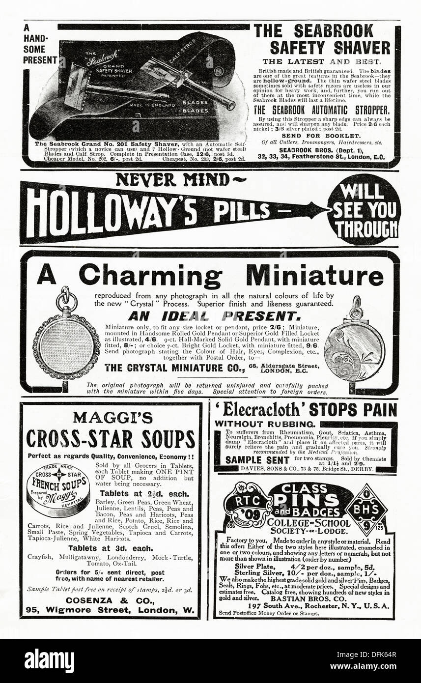 Page of adverts. Original 1900s advertisements advertising typical products of the period. Magazine adverts circa 1908 - Stock Image