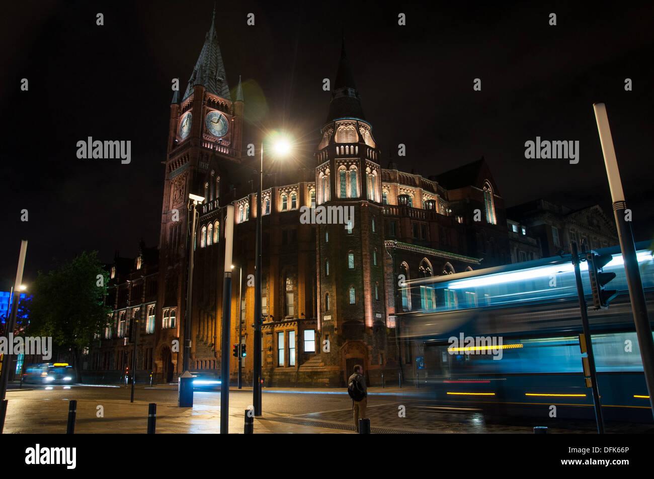 University of Liverpool at night - Stock Image