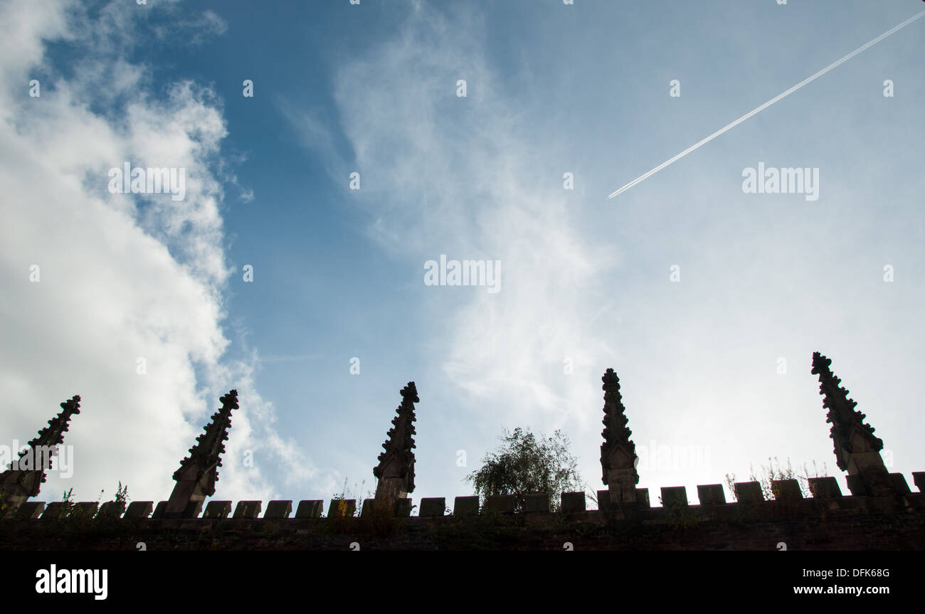 Church details against blue sky and clouds - Stock Image