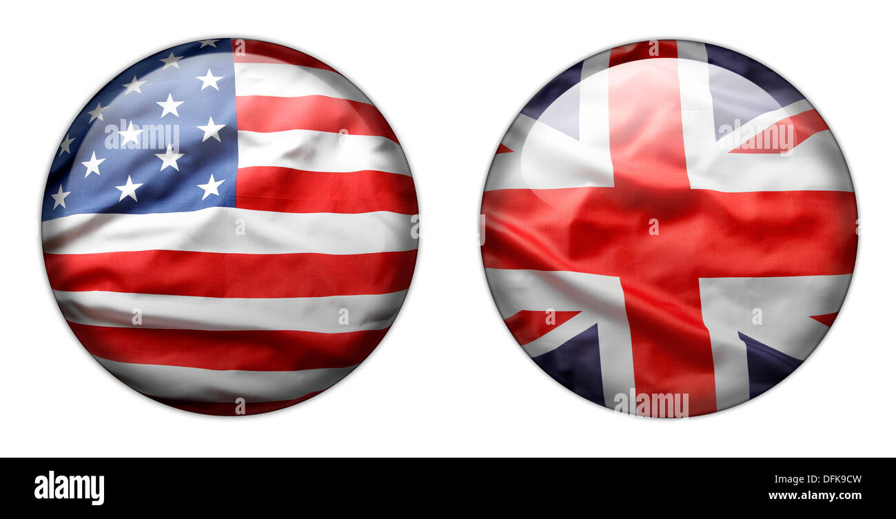 U.S. and British flag buttons isolated on white - Stock Image