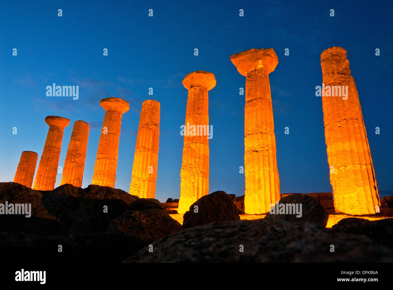 Agrigento Old columns, Valley of the kings, Sicily, Italy - Stock Image